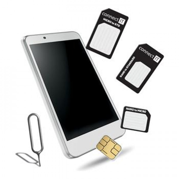 CONNECT-IT Nano a micro SIM adaptér čierny