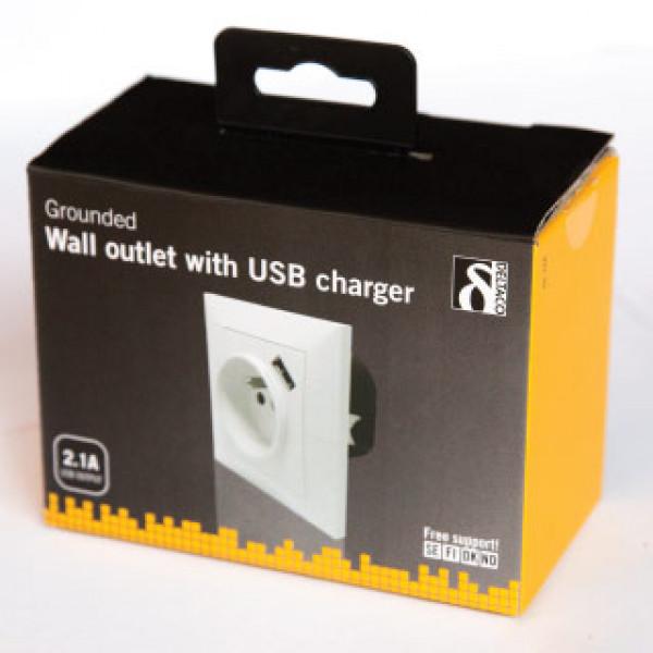 DELTACO zásuvka s USB portom GT-744